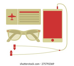 Vector summer travel set of smart phone, airplane ticket, and sunglasses in hipster style
