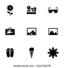 vector summer, travel, vacation and holiday icons set