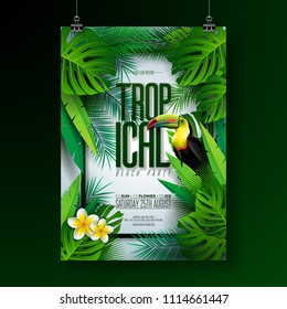 Vector Summer Tropical Beach Party Flyer Design with Toucan, Flower and typographic elements on exotic leaf background. Summer nature floral elements, tropical plants. Design template for banner