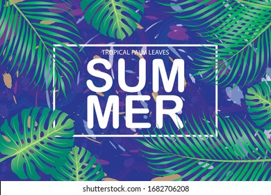 vector summer Tropical palm leaves on blue background. EPS10.
