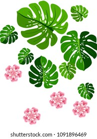 Vector summer tropical pattern with jungle leaves decor, fabric background. Floral jungle ornament with monstera leaf tropical pattern. Philodendron or monstera plant background.