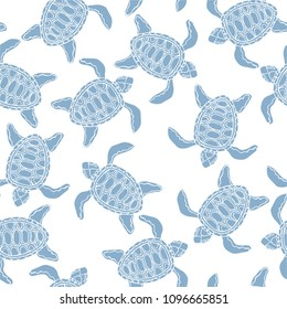 Vector summer vacation pattern with swimming blue turtle doodles, seamless background for marine beach holiday theme products, fabric and web design. Lovely elegant wild nature with ocean creatures.