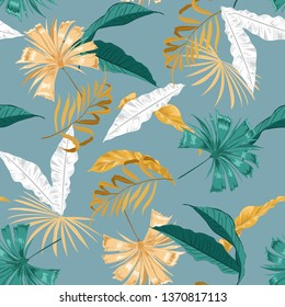 Vector Summer wild leaves and Floral seamless pattern, plant with, design for fashion,fabric,web,wallpaper and all prints on skyblue background color
