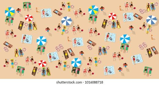 Vector summertime cartoon illustration. People on the beach