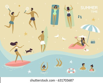 Vector summertime cartoon illustration. People on the beach. Surfer girl on surfboard, surfer boy, people play in tennis, swimming, girls sunbath