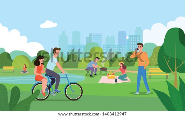 Vector summertime flat illustration. People in the park.