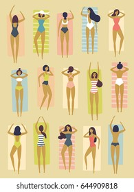 Vector summertime illustration. Girls in bikini sunbath, relax and having good time on the beach. Trendy design. Top view, bird's-eye. Set of fifteen female characters. Pattern, isolated, seamless