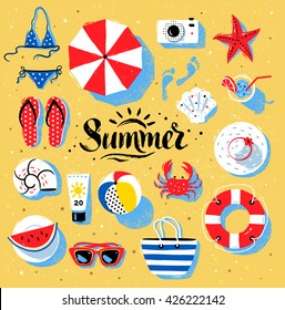 Vector summertime top view illustrations set with Summer word lettering on beach sand background.