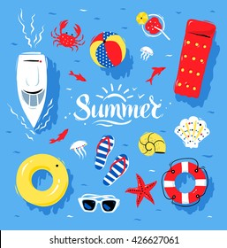 Vector summertime top view illustrations set with Summer word lettering on blue water background.