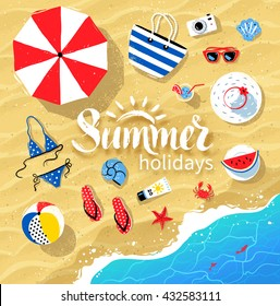 Vector summertime top view illustrations set with Summer word lettering on beach sand and sea water background.