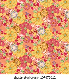 vector: summery floral pattern; good for fabric design