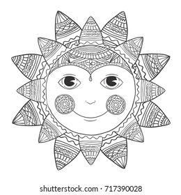 Vector sun - ethnic black line print, or illustration for coloring book. Smile sunny vector illustration
