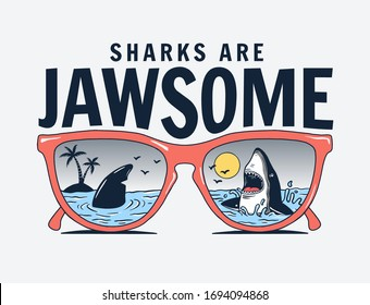 Vector sun glasses with shark reflection illustration, for t-shirt print and other uses.