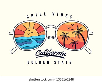 Vector sun glasses with tropical beach reflection illustration, for t-shirt print and other uses
