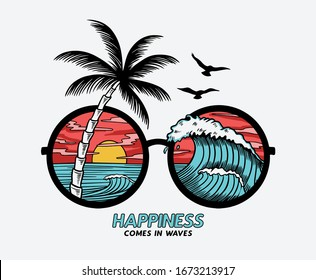 Vector sun glasses with tropical beach reflection illustration, for t-shirt print and other uses.