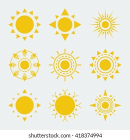 Vector Sun Icons Set Isolated On White Nine Items