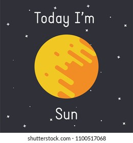 "Vector Sun illustration with ""Today I'm Sun"" caption  on dark background"