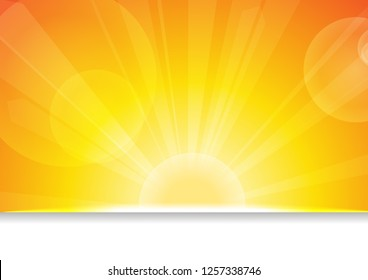 Vector : Sun and lens flare on orange background