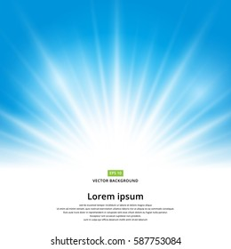 Vector sun light effect on blue background with copy space.