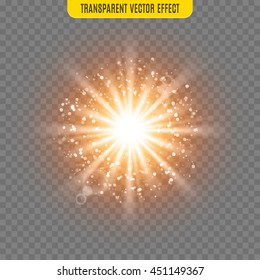 Vector sun light lens flare shine glare template transparent special effect illustration. Glitter sunbeams isolated
