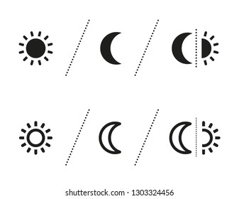 Vector sun and moon icons indicating day and night for use on cosmetics packaging