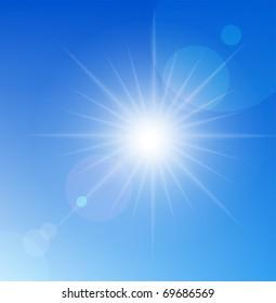 Vector sun on blue sky.