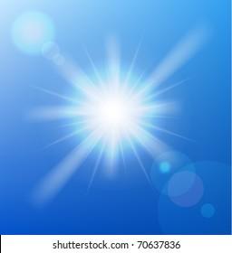 Vector sun on blue sky with lenses flare.