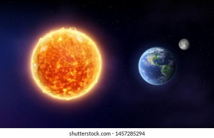 Vector sun star and planet earth with moon in space. Cosmic background. Realistic 3d vector illustration