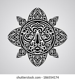 vector sun with tiger face in the centre,  tattoo sketch, Polynesian tattoo style