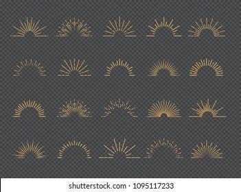 Vector sunburst set gold style isolated on transparent background for logotype, emblem, logo, tag, stamp, t shirt, banner. 10 eps