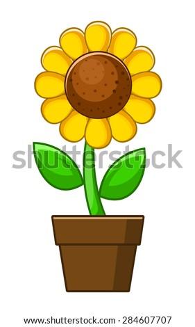 Vector Sunflower Cartoon Pot Stock Vector (Royalty Free ...