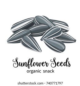 Vector sunflower seeds in cartoon style for template label, packing and emblem farmer market design.