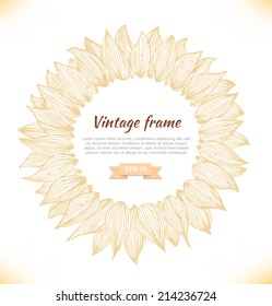 Vector sunflower silhouette, contour graphic cover for cards, invitations, brochures. Light vintage round template, rosette