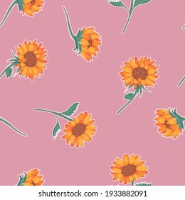 Vector Sunflowers on Dusty Pink seamless pattern background. Perfect for fabric, scrapbooking and wallpaper projects.