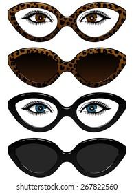 Vector sunglasses and eye glasses. Eyes under glasses. Leopard print.