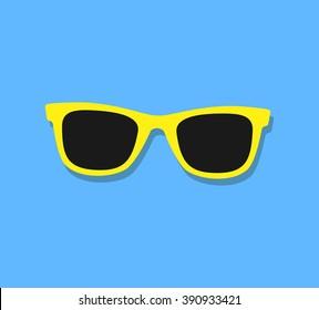 Vector Sunglasses Icon. Yellow sunglasses on blue background