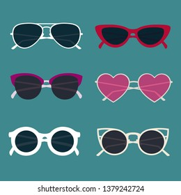 Vector sunglasses set with . Creative and colorful illustration. Summer design.
