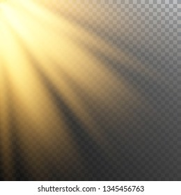 Vector of sunlight, bright rays of illumination on a transparent background, vector image for banners, posters and cards