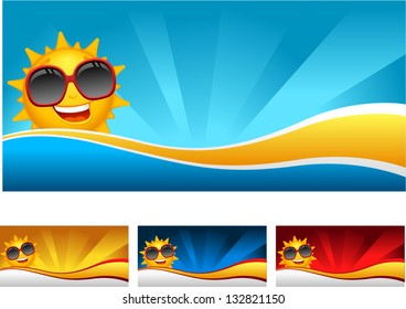 Vector sunny banner - Separate layers for easy editing