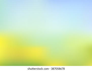 vector sunny blur summer background, colour gradient mesh of flowers on the field wih blue sky