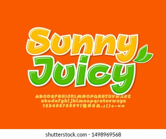 Vector Sunny Juicy Font with decorative leaves. Yellow bright Alphabet Letters, Numbers and Symbols