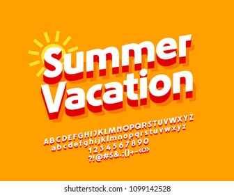 Vector Sunny Poster Summer Vacation. Isometric Font with Red Shadow. 3D Alphabet Letters, Numbers and Symbols.