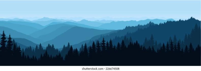vector Sunrise Landscape in Appalachian Mountains