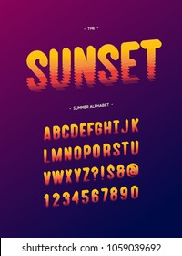 Vector sunset alphabet modern typography. Font sans serif style for t shirt, party poster, promotion, sale banner. 10 eps