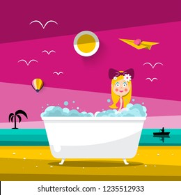 Vector Sunset Landscape with Beautiful Woman in Bathtub on Ocean Beach
