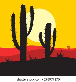 vector sunset  landscape with cactus and desert