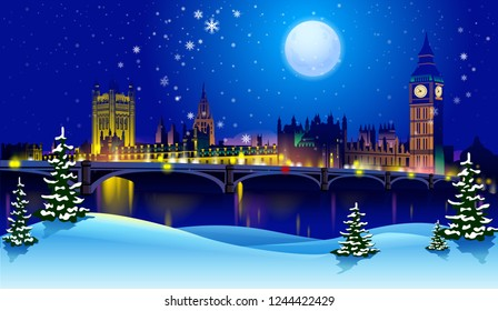 vector sunset and silhouette of London at night with stars and moon on the winter snowy background. London City Skyline. Image for banner or web site.