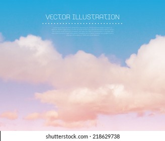 Vector sunset sky with clouds