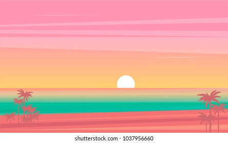 vector sunset tropical beach illustration. flat style nature landscape, seascape