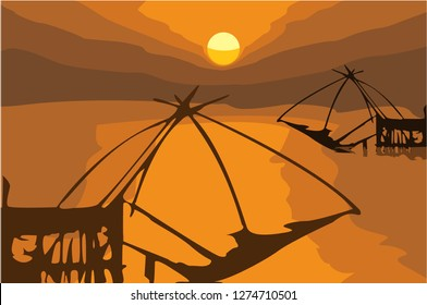 Vector sunset view, Yor Building, Local fishing with big net, at in Pak Pra Thale noi, Phatthalung, Thailand